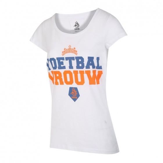 KNVB Leeuwinnen T-shirt Wit Dames Voetbal Vrouwen met eigen naam 2020