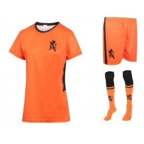 Nederlands Dames Voetbaltenue Thuis Eigen-Naam-Leeuwinnen Oranje Kids Senior 2020-21